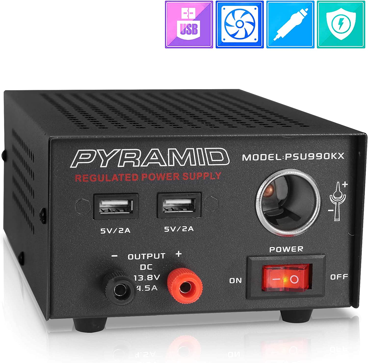 Universal Compact Bench Power Supply - 7 Amp Regulated Home Lab Benchtop AC-DC Converter Power Supply for CB Radio, HAM w/ 13.8 Volt DC 120V AC Supply, Dual USB, Cigarette Lighter - Pyramid PSU990KX