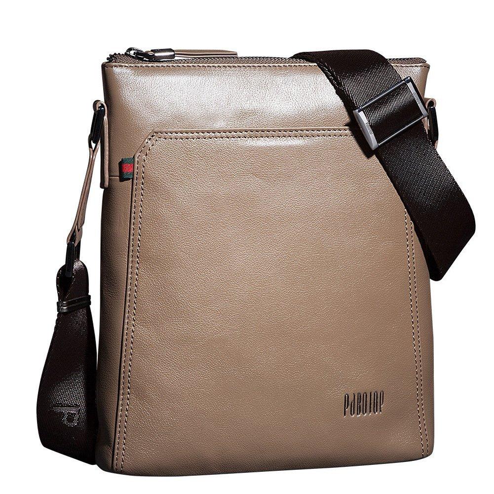 Mens Polished Genuine Cowhide Business Cross Body Handbag Messenger Straps Bag