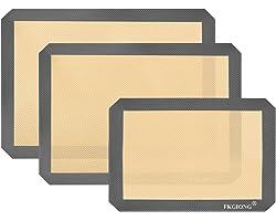 "Silicone Baking Mats - Nonstick Large Baking Mat Set of 3 - 2 Half Sheets Mats (11 5/8"" x 16 1/2"") + 1 Quarter Sheets - Extra"