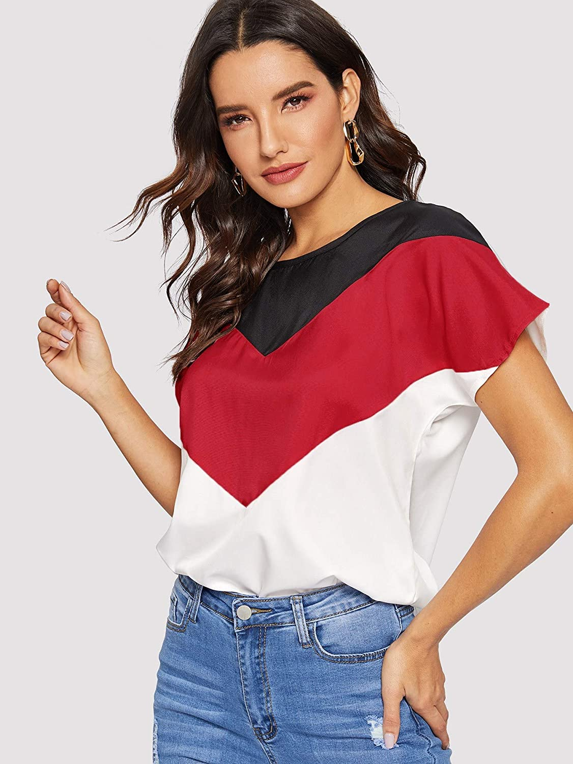 Romwe Women Color Block Blouse Short Sleeve Casual Tee Shirts Tunic Tops