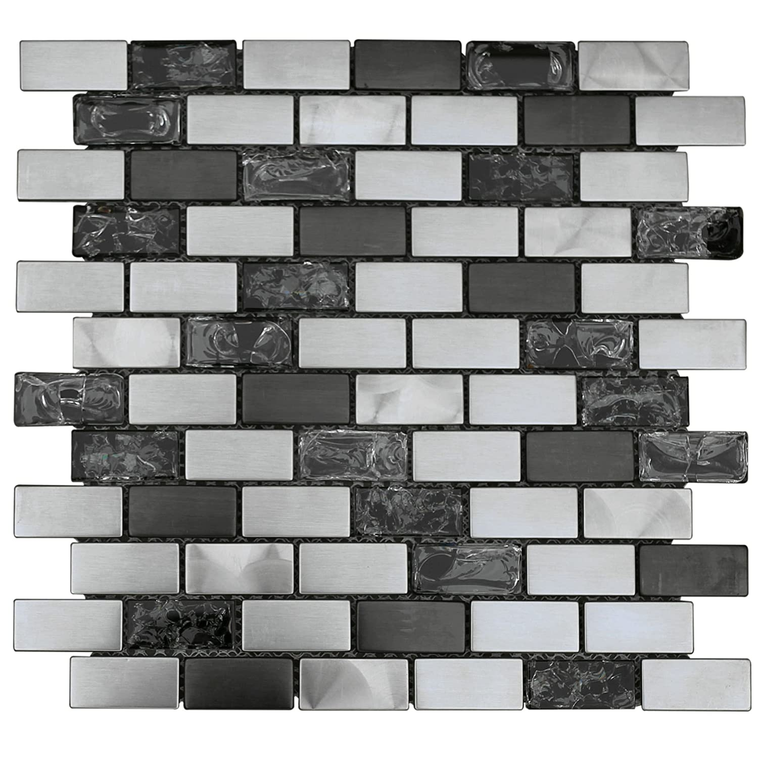 Stainless Steel Metal Mix Crackle Glass Mosaic Tile for Kitchen