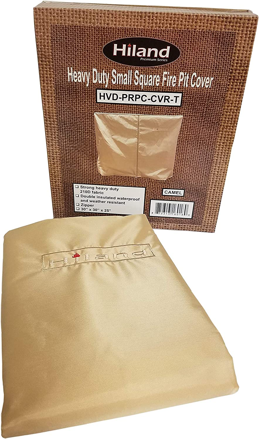 Round Hiland HVD-RFP-CVR Heavy Duty Waterproof Two Tiered Fire Pit Cover-59 x 39 x 24-Tan