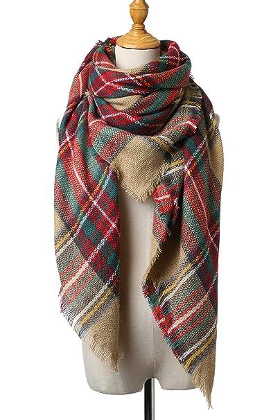 60f45b63cee85 Womens Winter Scarf Classic Blanket Oversize Big Warm Soft Tartan Tassel  Plaid WanderScarf Wrap Shawl (