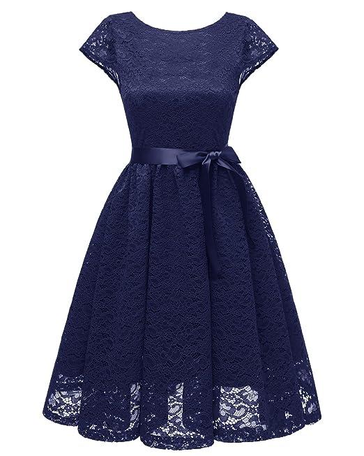 KAXIDY Vestidos de Cóctel Encaje Vestidos de Fiesta Vintage Coctel Ropa para Mujer (Azul marino