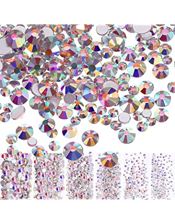 Bememo 3456 Pieces Nail Crystals AB Nail Art Rhinestones Round Beads  Flatback Glass Charms Gems Stones b45f033e5690