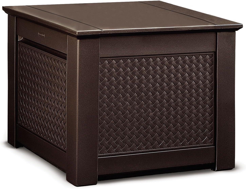 Rubbermaid Cube Patio Chic Outdoor Storage, Dark Teak Basket Weave