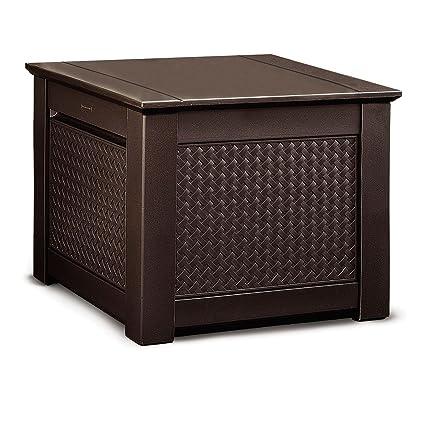 Ordinaire Rubbermaid Cube Patio Chic Outdoor Storage, Dark Teak Basket Weave