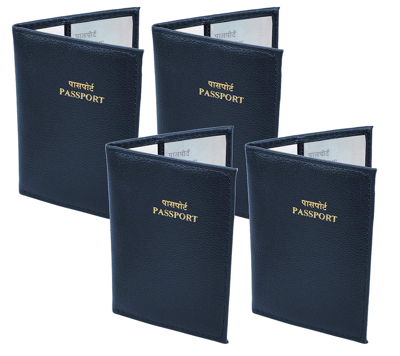 Storite 4 Pack PU Leather Travel Passport Cover Holder (14 x 10 cm, Blue)