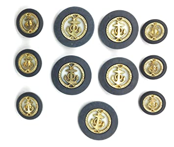 Amazon com: Navy Gold Anchor Buttons Sets on White for Coats