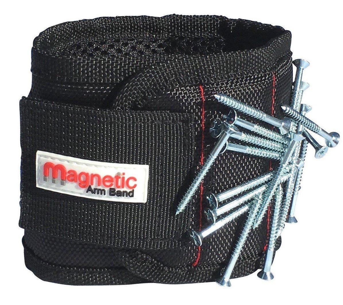 Bracelet magné tique –  10 aimants en né odyme inté gré s sur toute la longueur du bracelet pour faire tenir clous, vis, embouts, fixations, rondelles, boulons, petits outils, et bien plus encore.