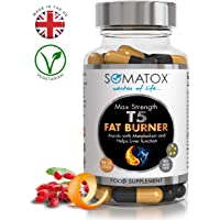 SOMATOX™ T5 Fat Burner Ultimate Edition ★ Thermogenic Supplement ★ Max Strength 3157mg Total Daily Dosage / 90 Veg Caps 30 Day Supply ★ Made in UK – GMP Cert