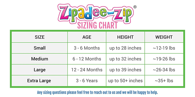 Zipadee Zip Size Chart