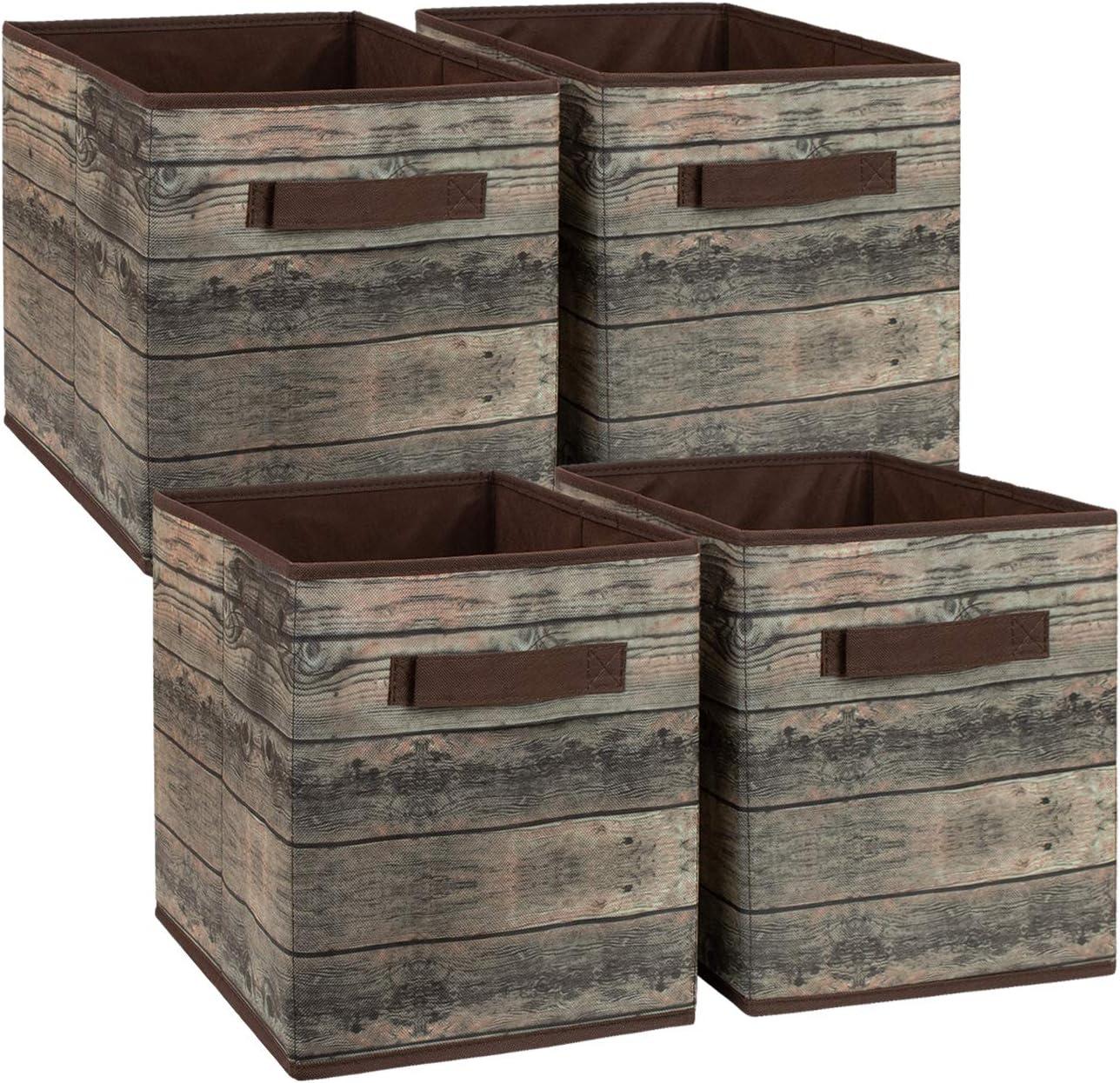 Sorbus Foldable Storage Cube Basket Bin, Rustic Wood Grain Print, 4-Pack (Rustic Bin - Brown)