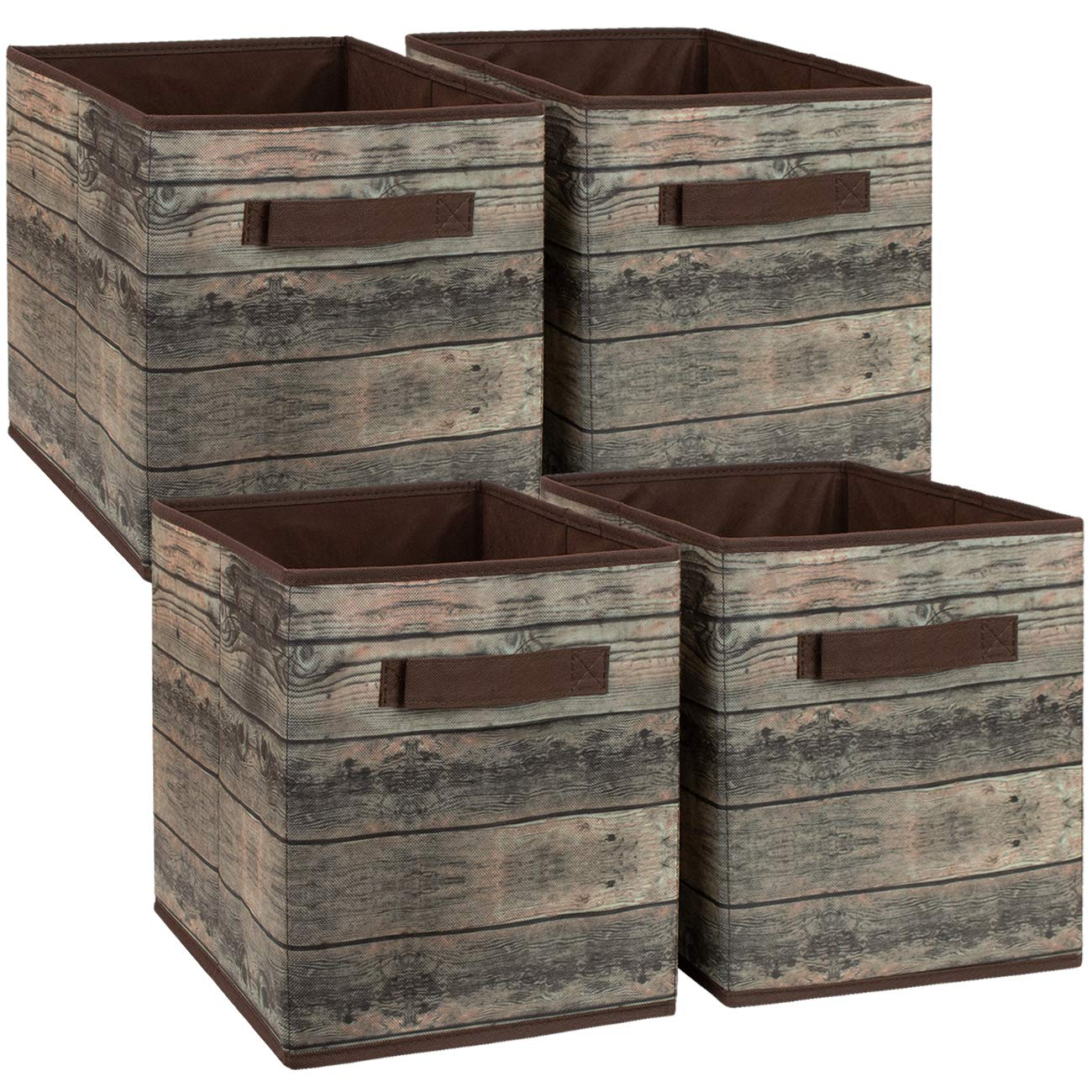 Sorbus Foldable Storage Cube Basket Bin, Rustic Wood Grain Print, 4-Pack (Rustic Bin - Brown) by Sorbus