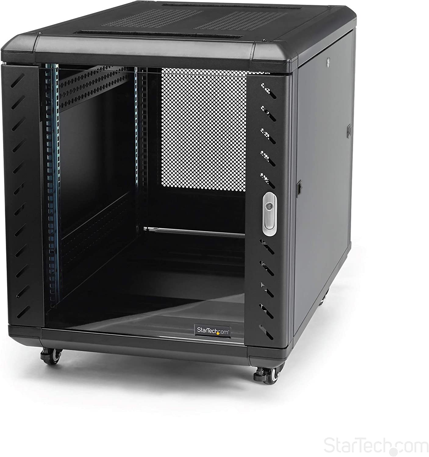 StarTech.com 12U AV Rack Cabinet - Network Rack with Glass Door - 19 inch Computer Cabinet for Server Room or Office (RK1236BKF)