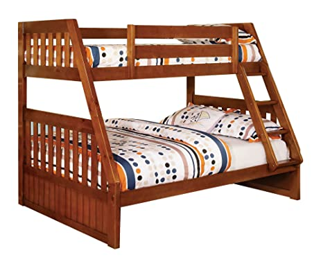 furniture of america grisham bunk bed twin over full oak