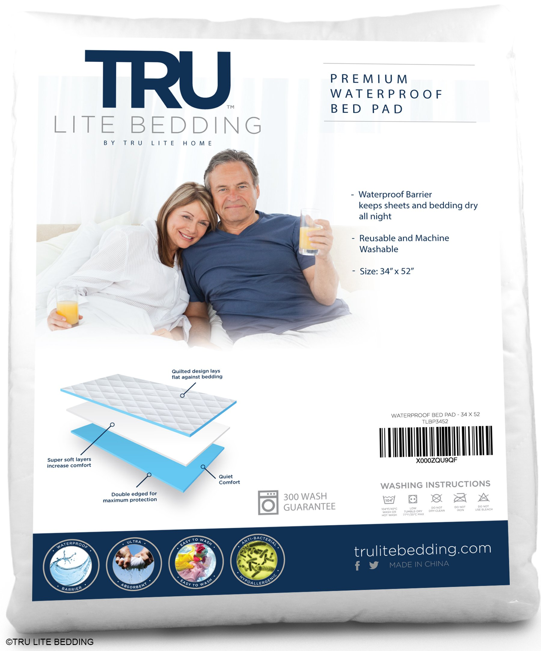 TRU Lite Bedding Reusable Incontinence Pad - Washable, Waterproof Mattress Protector - Bedding and Sheet Protection - Underpad for Bed Wetting and Spills - 52'' x 34''