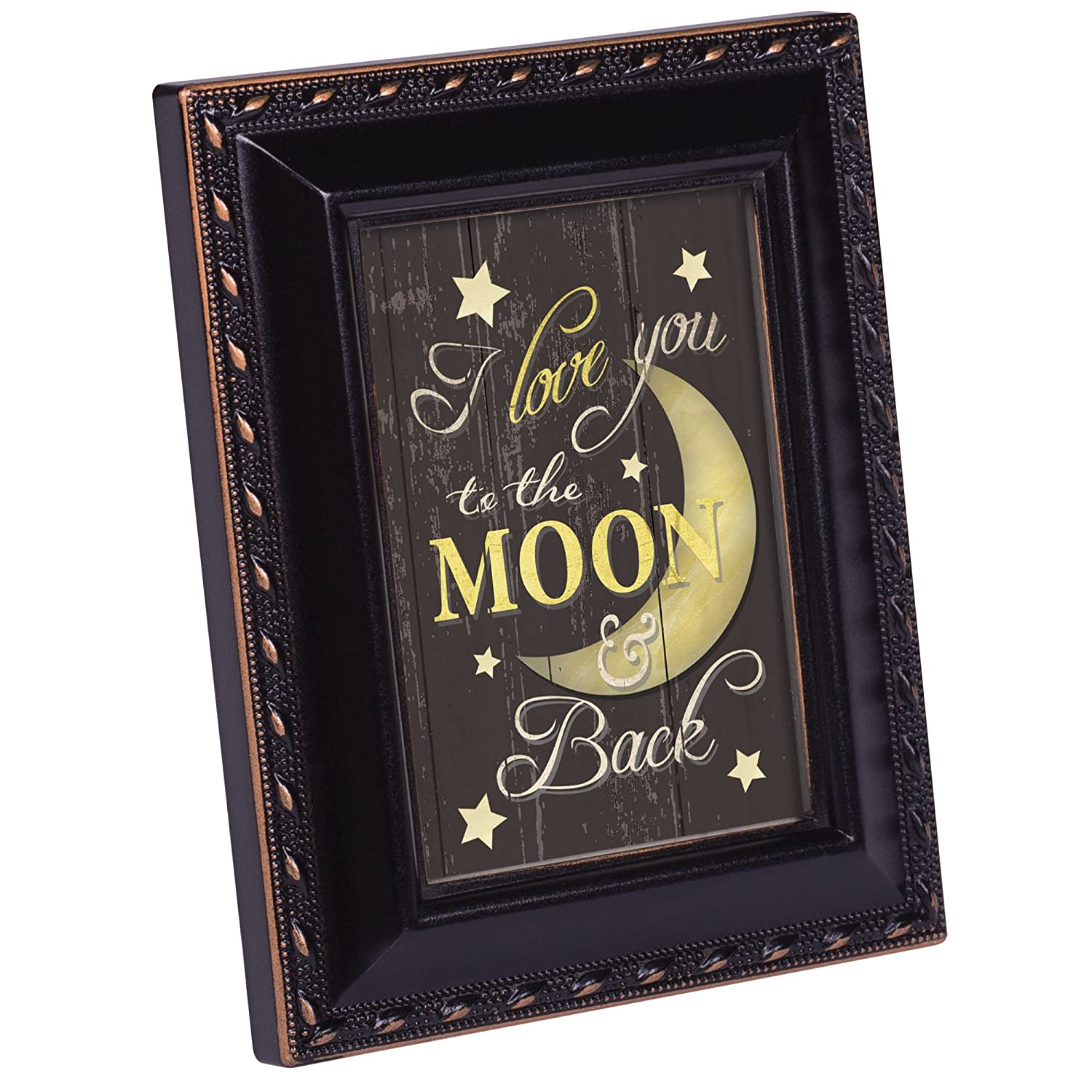 Cottage Garden Love You to The Moon and Back Black Gold Rope 2 x 3 Magnetic Tiny Photo Frame