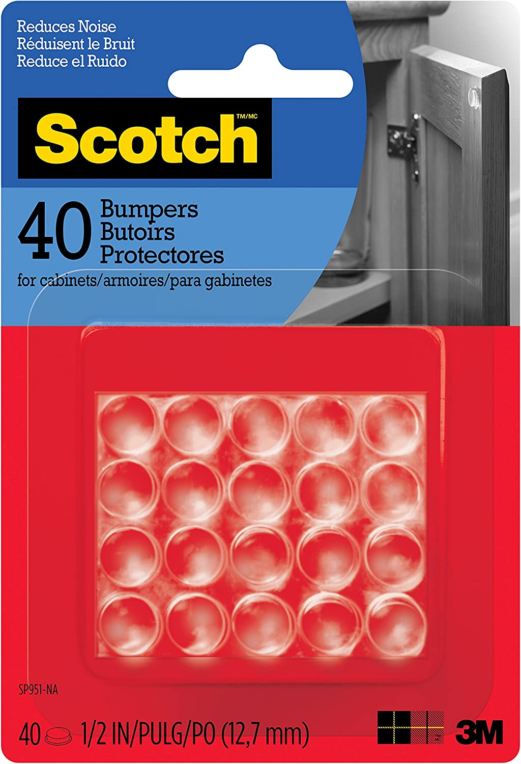 "Scotch Bumpers, 40 Bumpers/Pack, Clear, 1/2"", (SP951-NA)"