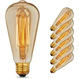 [6 Pack] Vintage Edison Bulbs with Squirrel Cage Filament, 40W Dimmable E26/E27 ST64 Tear Drop Antique Light, Golden…