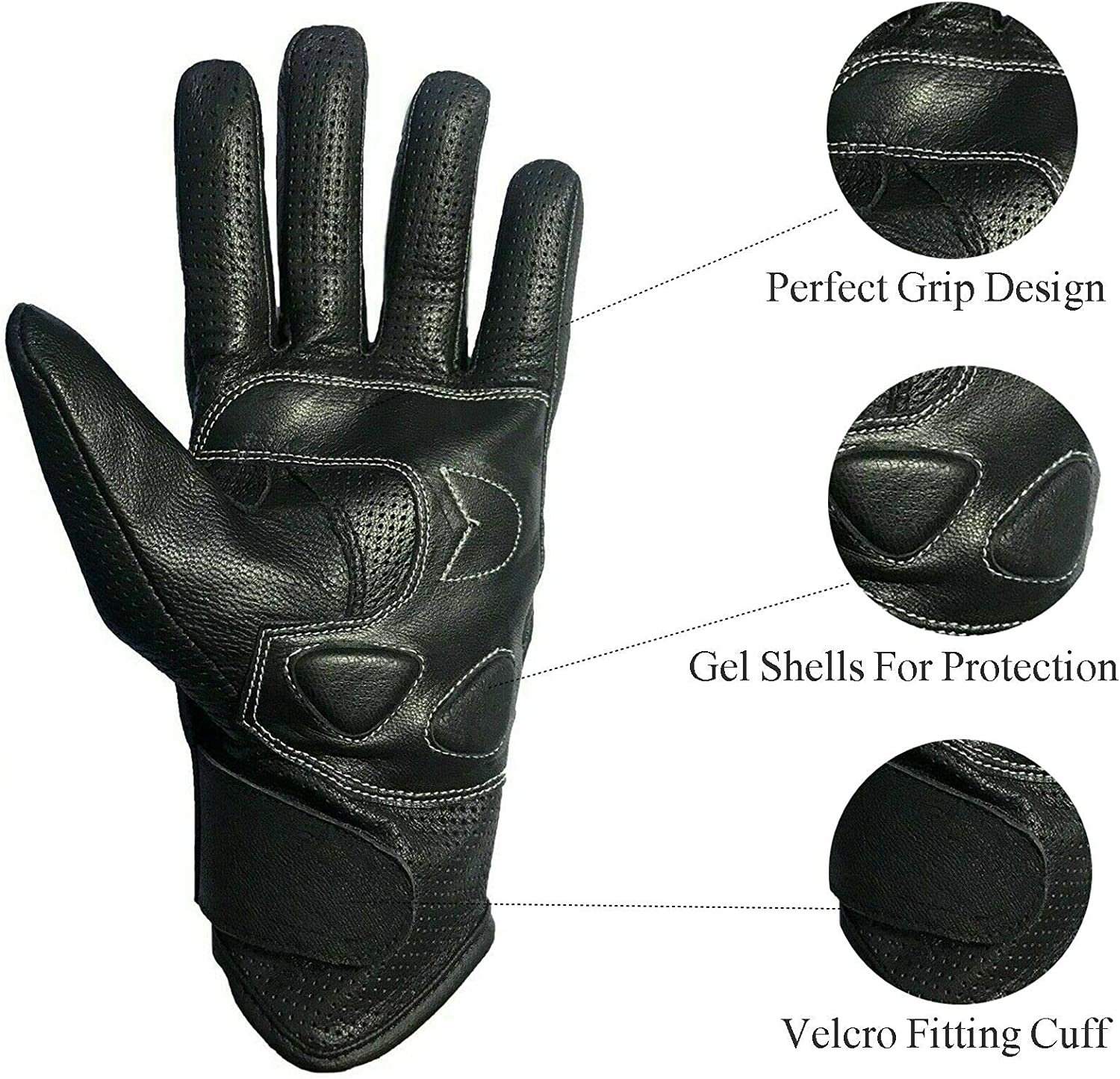 Small WFX Goat Vented Leather Mens Motorcycle Gloves Perforated Cruiser Protection
