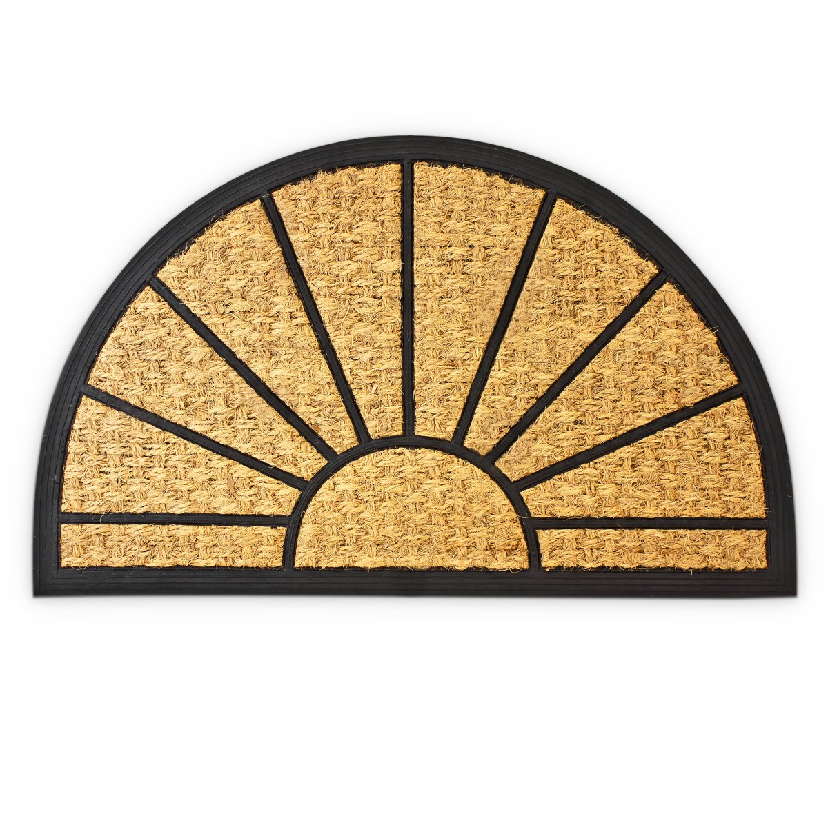 Relaxdays – Felpudo semicircular para la Entrada de su hogar Hecho de Fibras de Coco y PVC con Medidas 75 x 45 cm Antideslizante Elemento Decorativo, Color Natural 10016743