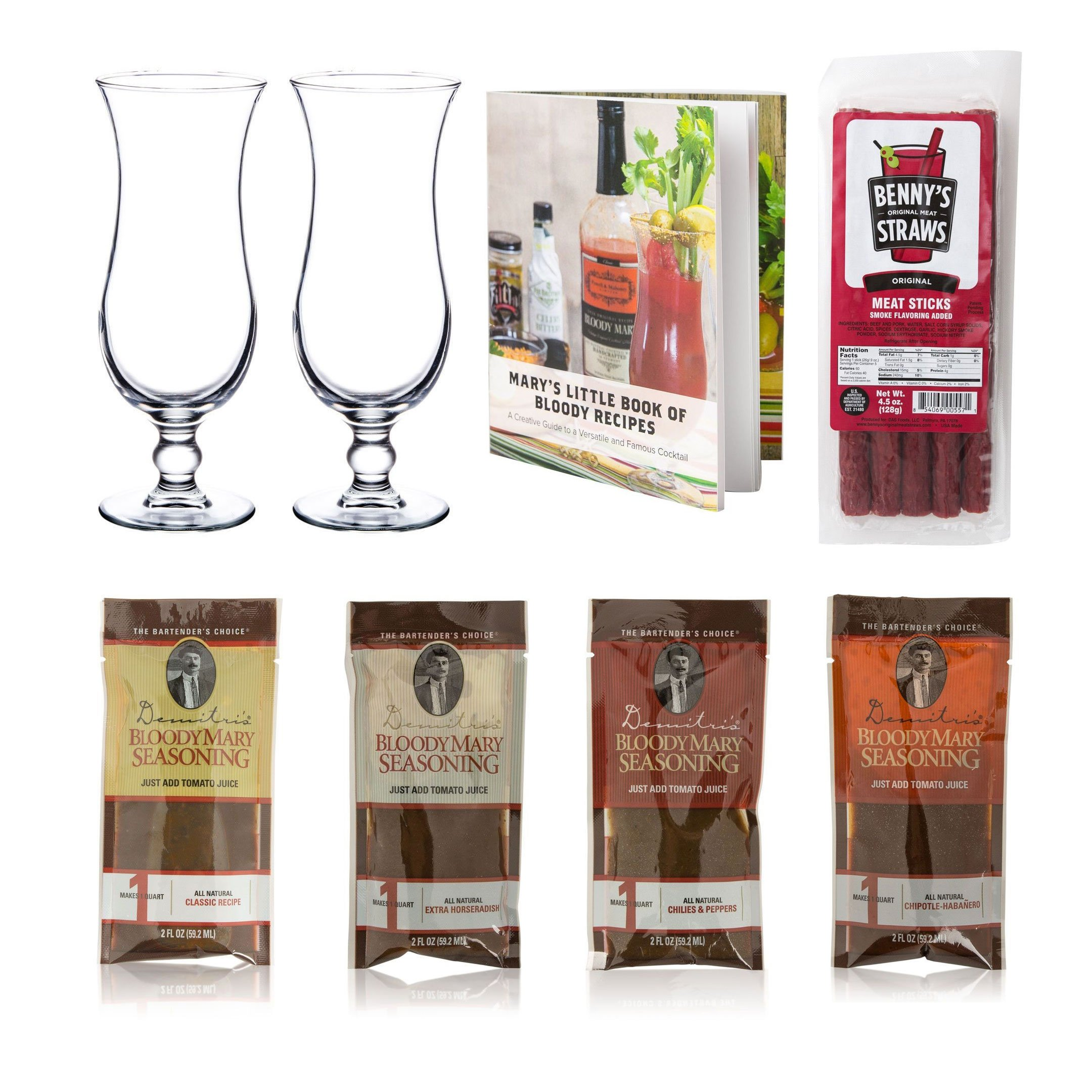 KegWorks - Bloody Mary Cocktail Gift Set - Glasses, Demitri's Mixes & Recipe Book - 8 Piece Set