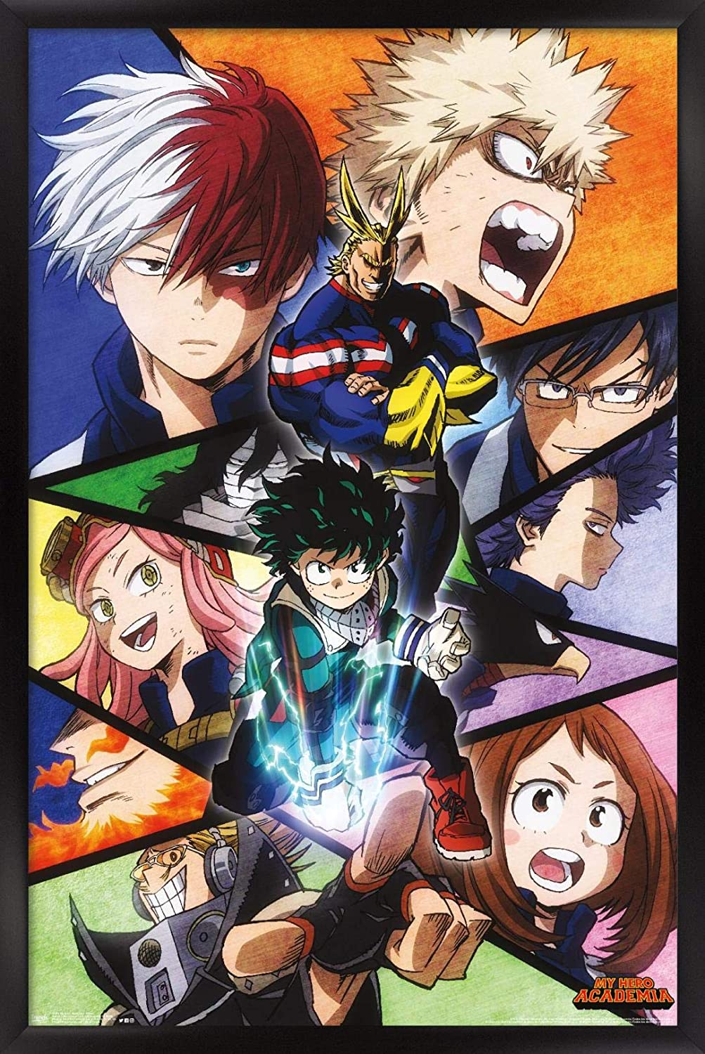 Trends International My Hero Academia-Faces Wall Poster 14.725 x 22.375 Barnwood Framed Version