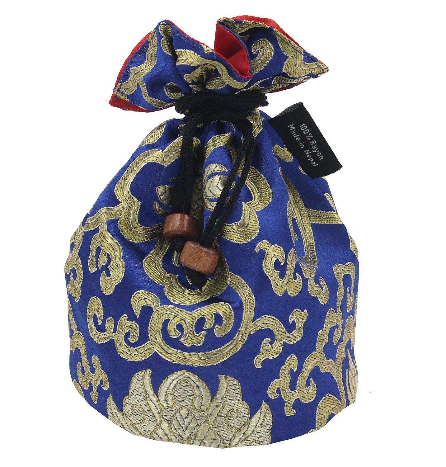 Tibetan Handmade Brocade Cloth Singing Bowl Storage Carrying Case Bag (Blue) Lungta Imports