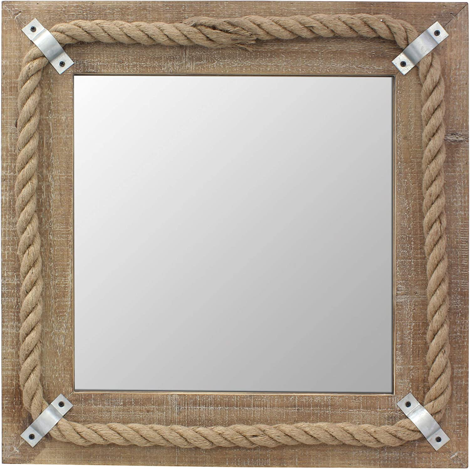 Amazon Com Stonebriar Square Wooden Mirror With Nautical Rope Detail Beachside Home Décor For Kitchen Living Room Bathroom And Hallway Home Kitchen