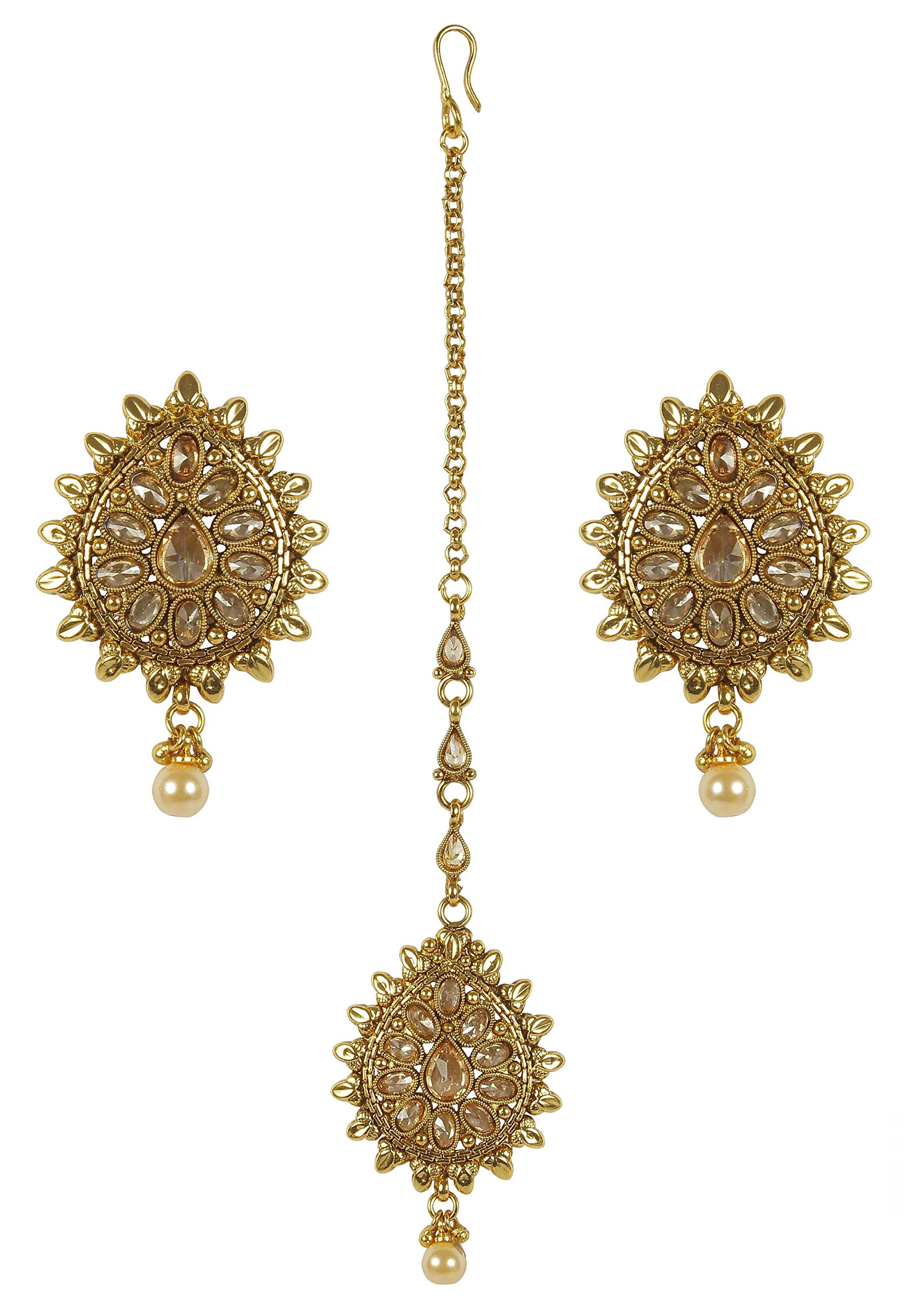 MUCH-MORE Indian Gold Plated Traditional Beautiful Multi Stone Earring with mang Tikka Jewelry for Women (ERMT-2306)