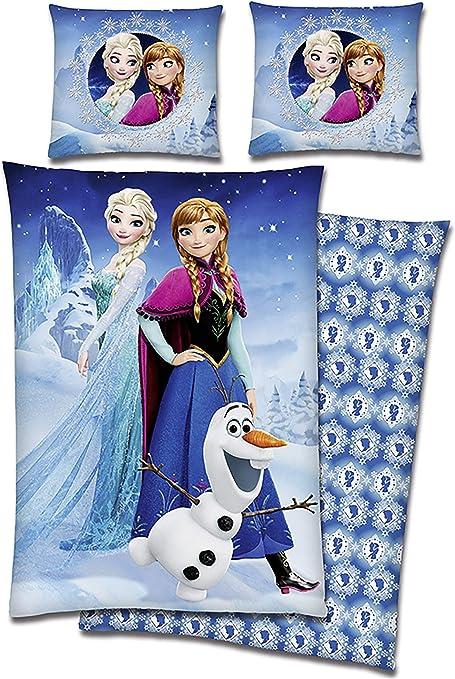 Disney Frozen Anna Elsa Olaf Mädchen Bettwäsche  80x80 cm 135x200 cm