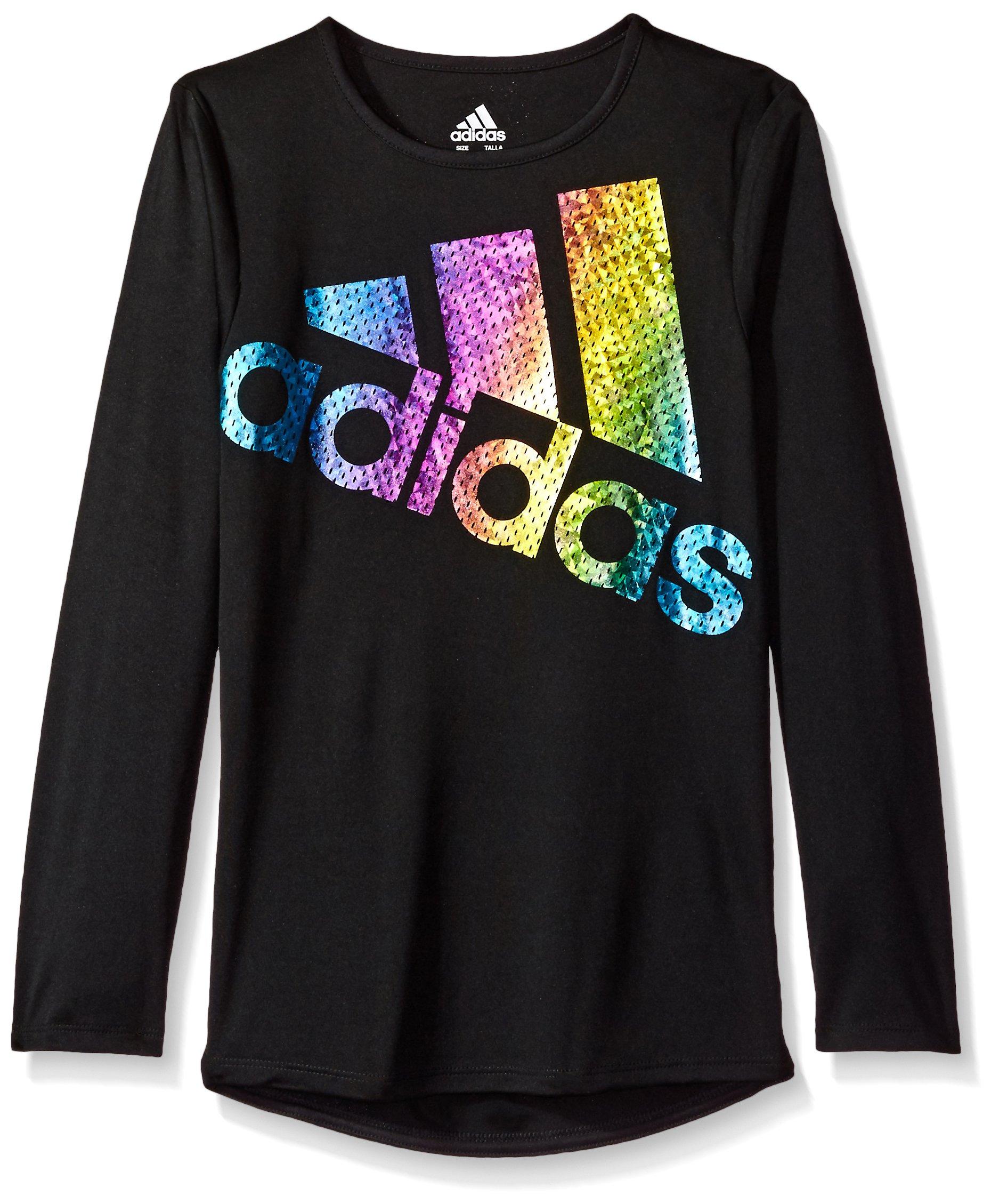 adidas Girls' Little Long Sleeve Logo Tee, Black, 4