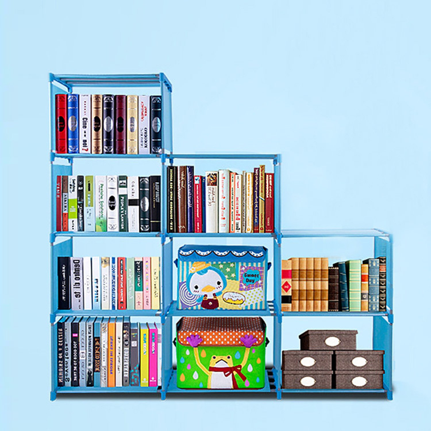Aceshin 9 Cube Children's Bookcase Adjustable Bookshelf Organizer Closet DIY Cube Storage Shelves Unit (9 Cube, Blue)