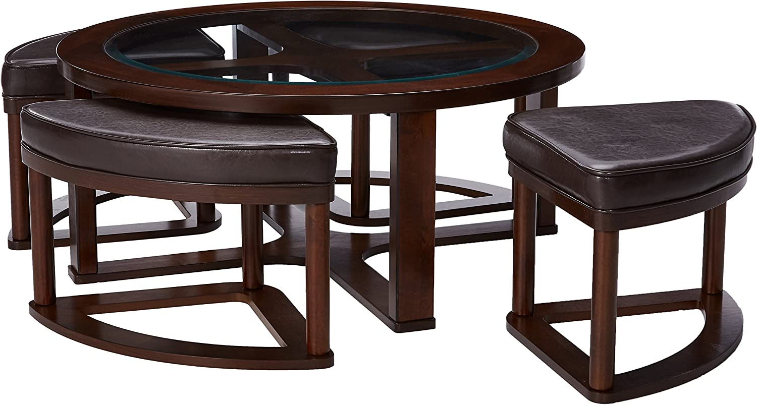 Amazon Com Signature Design By Ashley Marion Glass Top Coffee Table Set W 4 Upholstered Stools Dark Brown Furniture Decor