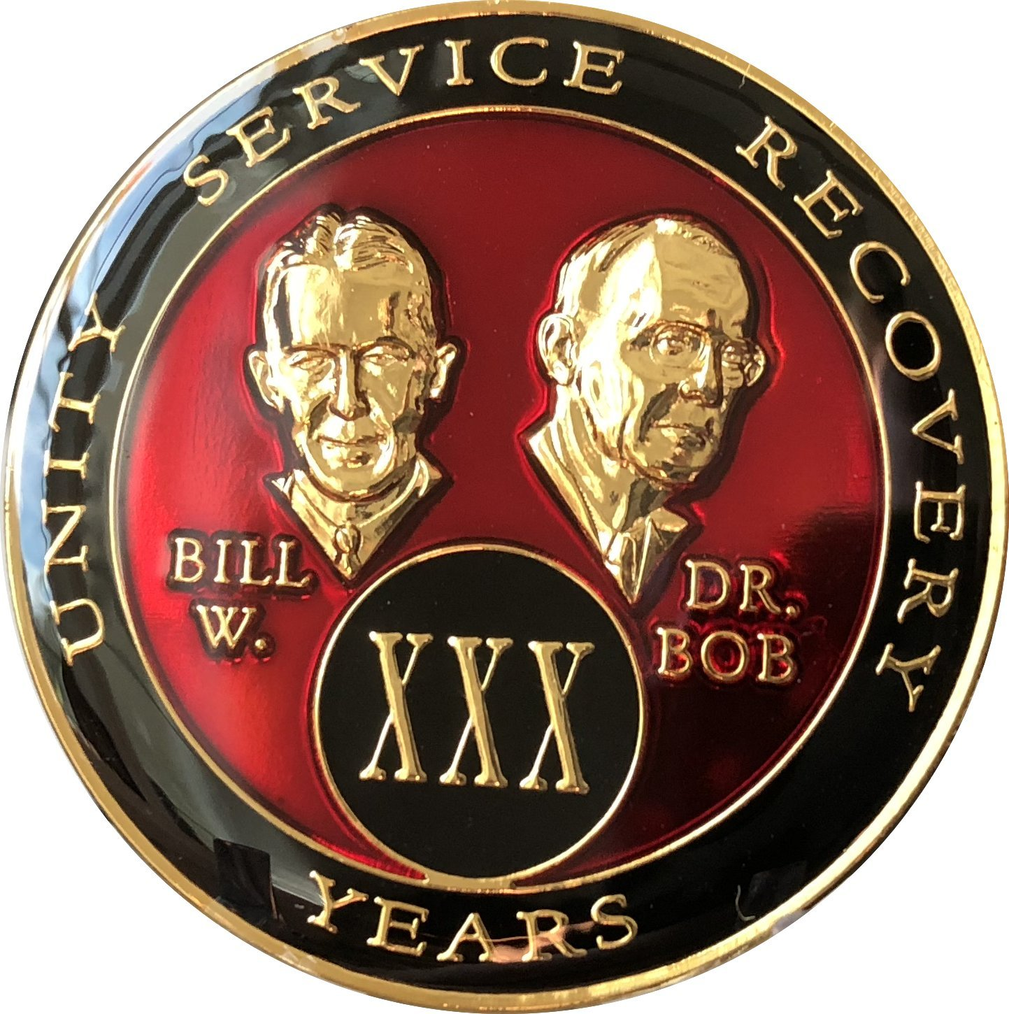 30 Year Founders Red Tri-Plate AA Medallion Bill & Bob Chip XXX
