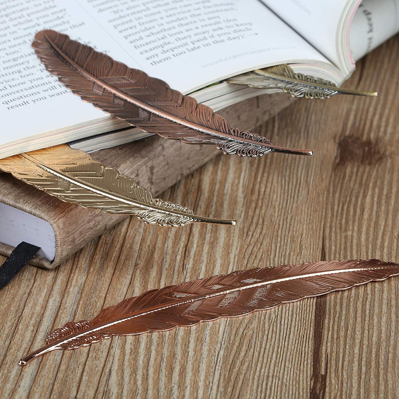 Naler 16 Pcs Marque-Pages de Plume en M/étal Assorti Signet Cadeau 8 Couleurs