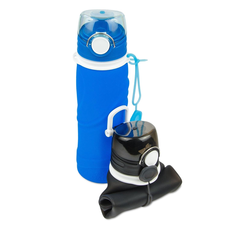 2er Set faltbare Silikon-Trinkflasche inkl. Karabiner mit 750 ml ...
