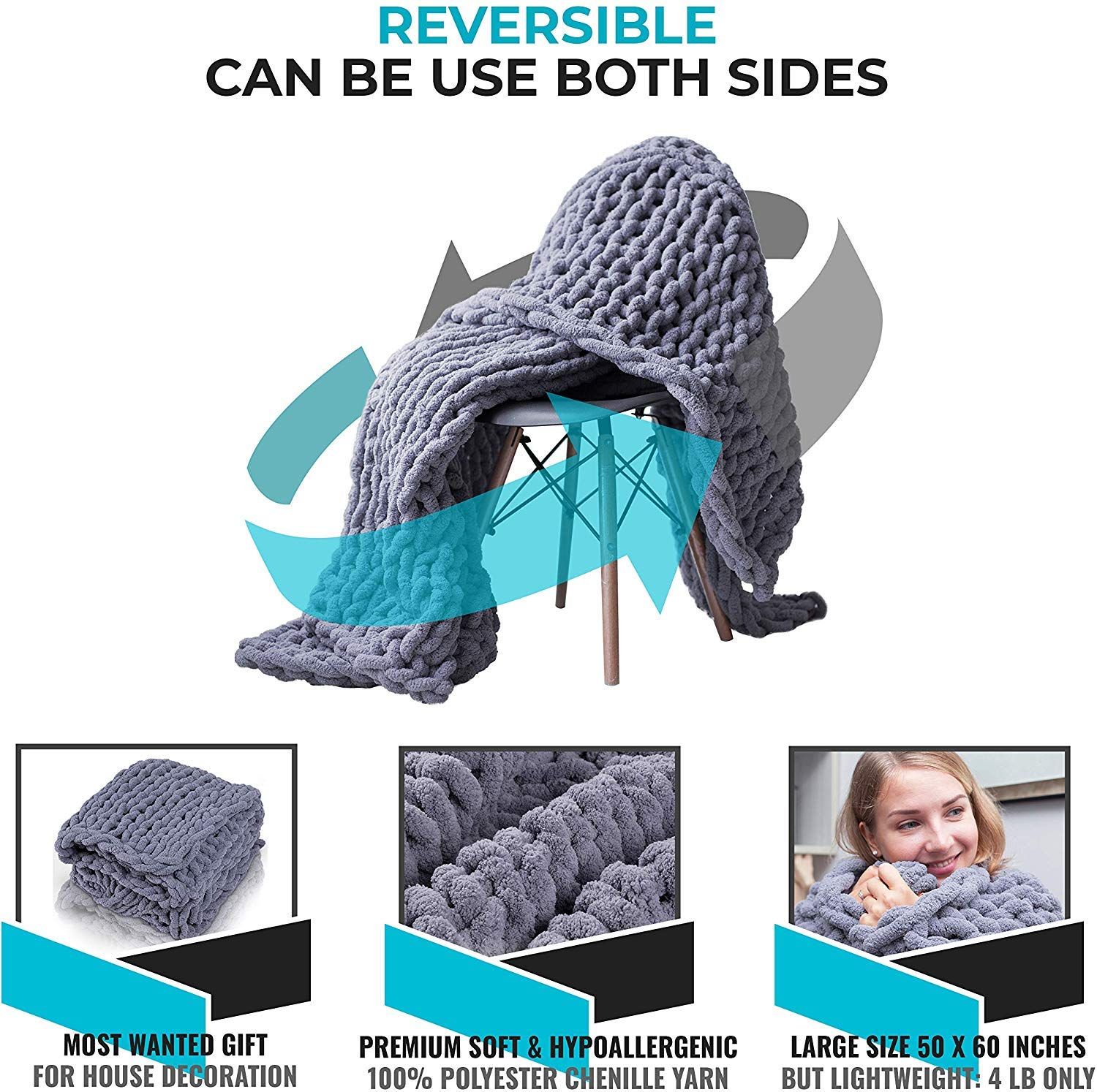 Inshere Luxury Chunky Knit Throw Blanket (48\