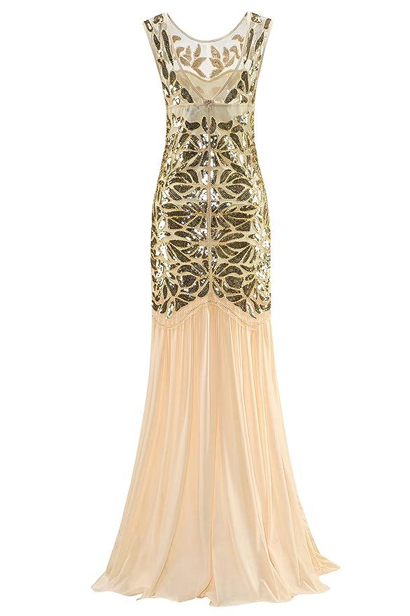 Metme Mujeres Años 20 con cuentas lentejuelas Vintage clásico largo aleta Gatsby vestido de fiesta de moda estiloso elegante indumentaria: Amazon.es: Ropa y ...