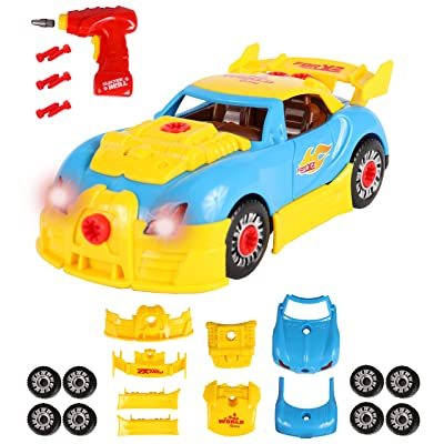 TOYTHRILL Build Your Own Take Apart Car with Toy Power Drill, Lights and Sounds - More Than 30 Pieces - Fix, Remodel, Drive and Play Racing Car or Convertible: Toys & Games