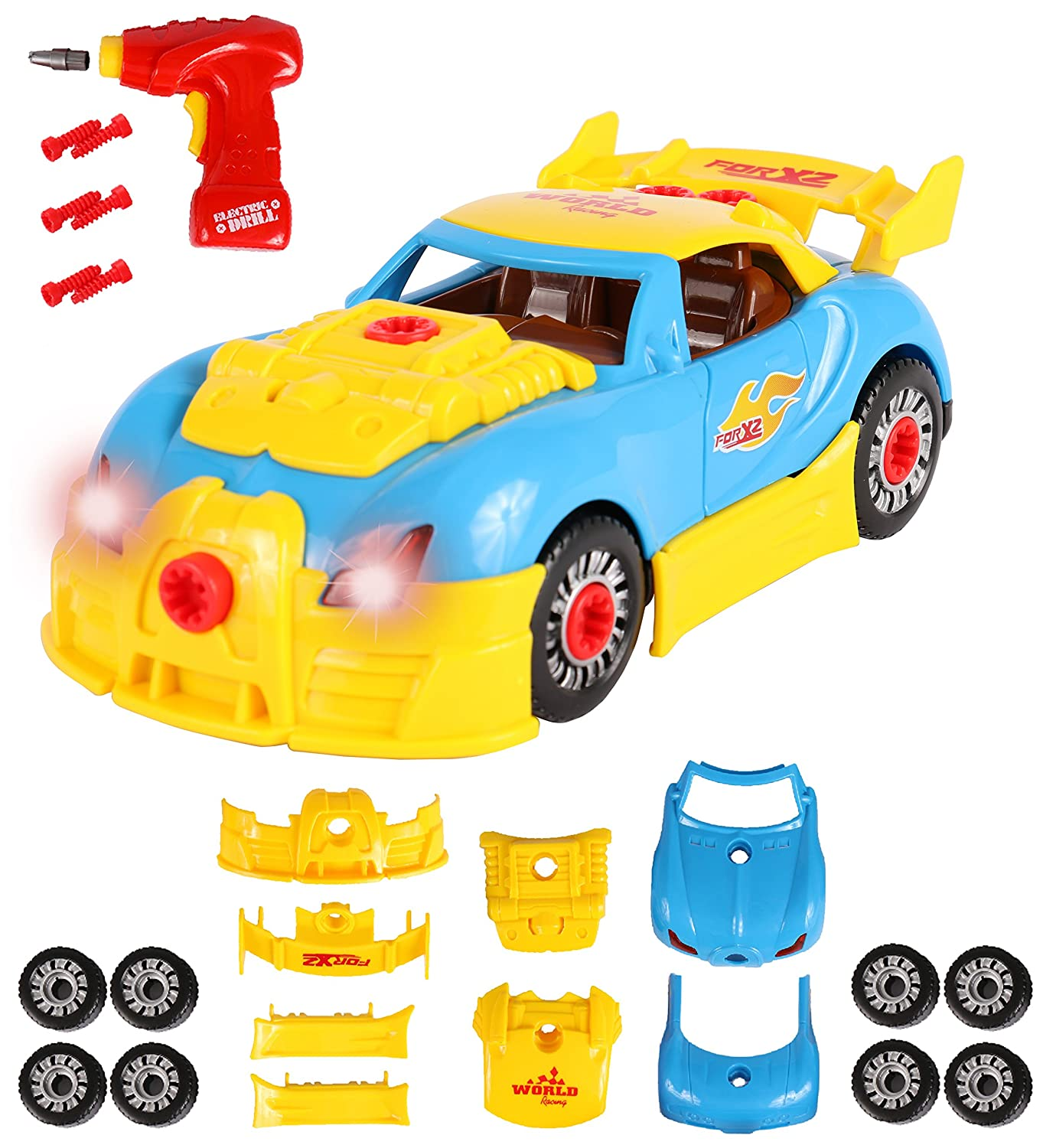 ToyThrill Build Your Own Take Apart Car with Toy Power Drill, Lights and Sounds - More Than 30 Pieces – Fix, Remodel, Drive and Play Racing Car or Convertible