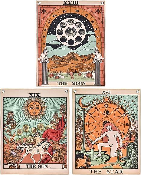 Tapiz Con Diseño De Cartas Del Tarot La Luna El Sol Y La Estrella Everything Else