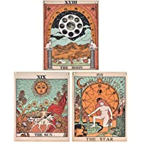 Pack 3 Tarot Tapestry, The Moon, The Star and The Sun Tarot Card Tapetsry, Medieval Europe Tapestry for Room with…
