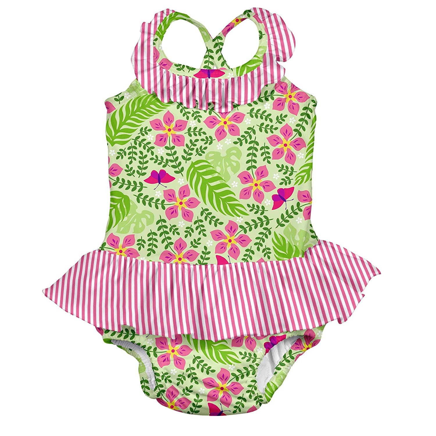 I-Play. Baby Girls' Ruffle Swimsuit with Built-In Reusable Absorbent Swim Diaper Lime Palm Garden 6 Months i play Children's Apparel 712159-2300-45