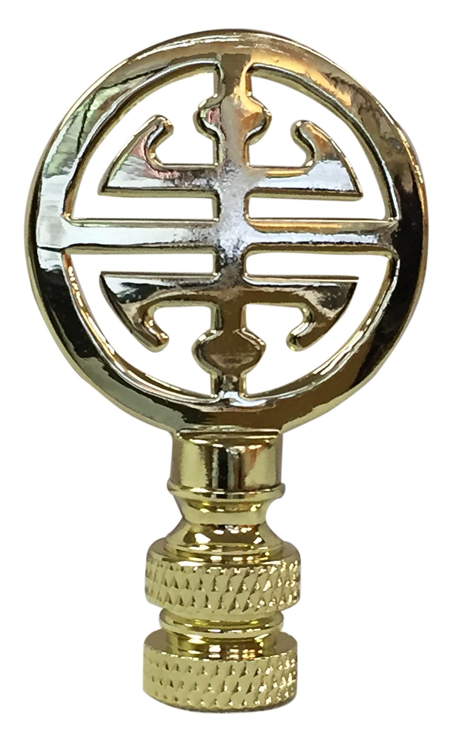 Royal Designs Oriental Happiness Symbol Lamp Finial for Lamp Shade- Polished Brass