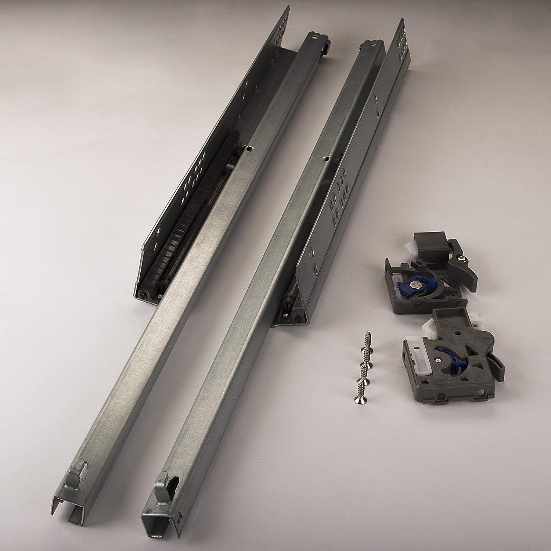 1 par de SO-TECH/®PartSlide Carril para Caj/ón Gu/ía Telesc/ópica 550 mm Extensi/ón parcial para Caj/ónes de Madera//con Amortiguaci/ón