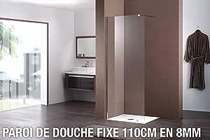 Mampara de ducha fija 110 cm: Amazon.es: Hogar