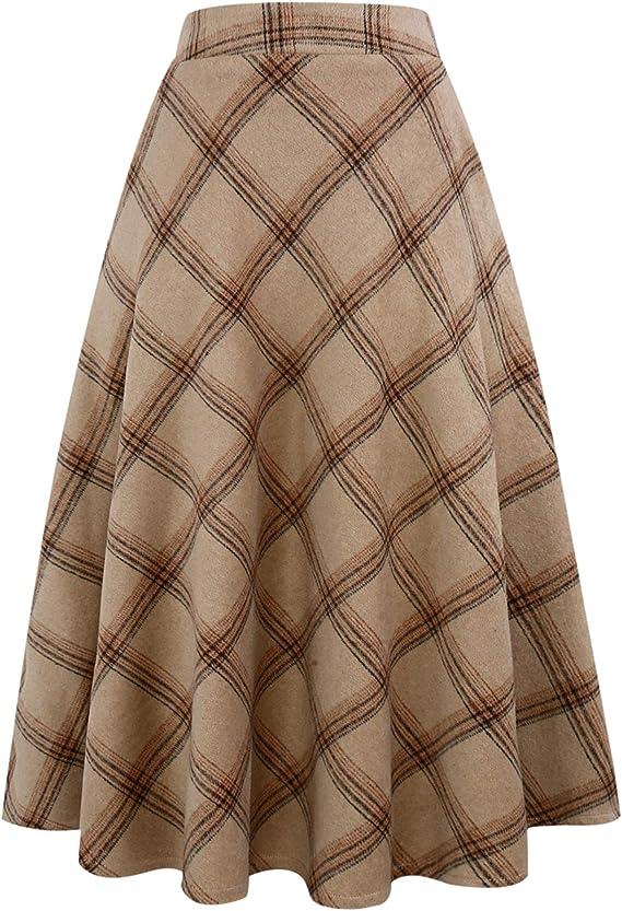 Vintage Skirts | Retro, Pencil, Swing, Boho IDEALSANXUN Womens High Elastic Waist Maxi Skirt A-line Plaid Winter Warm Flare Long Skirt $39.99 AT vintagedancer.com