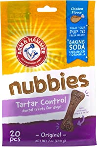 Arm & Hammer Nubbies Dental Treats for Dogs | Dental Chews Fight Bad Breath, Plaque & Tartar without Brushing | Available in Multiple Flavors and Sizes